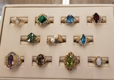 Various Gold, Diamond, Pearl, Peridot, Emerald rings