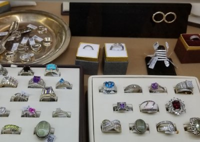 Collection of silver rings with semi precious stones